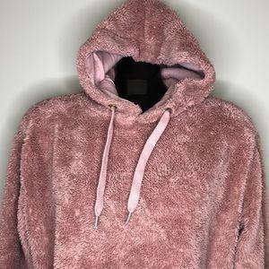 PRIMARK dusty rose teddy bear cropped hoodie M